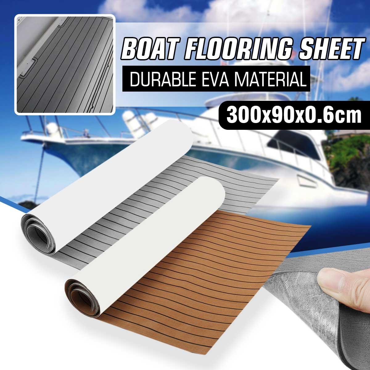 1 Roll 300x90x0.6cm Self-Adhesive EVA Foam Boat Yacht RV Caravan Marine Flooring Faux Teak Boat Decking Sheet Floor Decor Mat