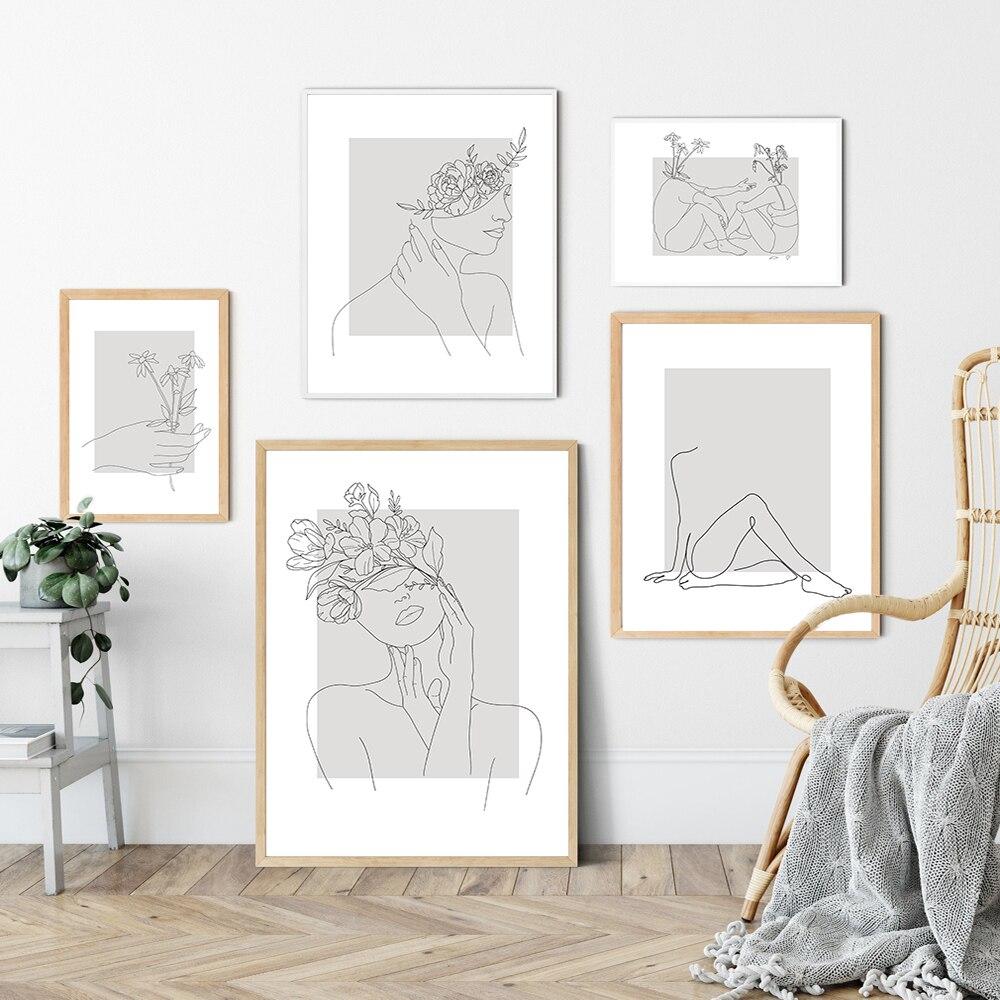 Soyut kadın çizgi çizim İskandinav posterler baskılar Modern tuval boyama duvar sanatı çiçek kız duvar resmi yatak odası ev dekor