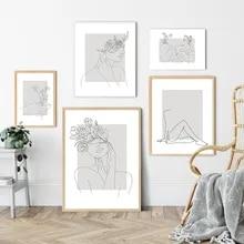 Abstracto mulher linha de desenho nórdico posters impressão moderna pintura em tela arte da parede flor menina imagem do quarto decoração casa