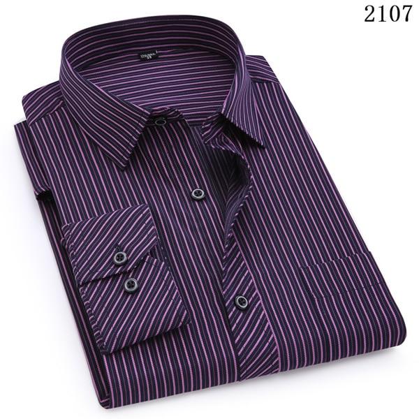 Plus Large Size 8XL 7XL 6XL 5XL Mens Business Casual Long Sleeved Shirt Classic White Black Dark Blue Male Social Dress Shirts 13