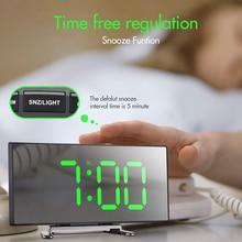 Alarm-Clock Table Bedroom Digital Electronic Large Kids Number LED for Curved Sn 7inch
