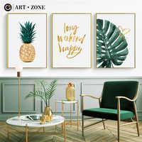 ART ZONE Gold Pineapple Nordic Canvas Painting Green Leaves Letter Art Print Poster Wall Decoration Home Decor Poster