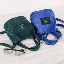 Mini veludo bolsa de ombro feminina nova pequena lona bolsa totes senhoras casual vintage bolsa de pano balde bolsa para menina