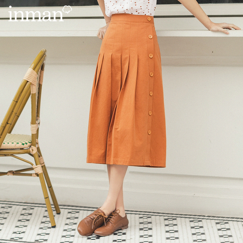 INMAN 2020 Sumer New Arrival Literary Leisure Single-breasted A-line Skirt