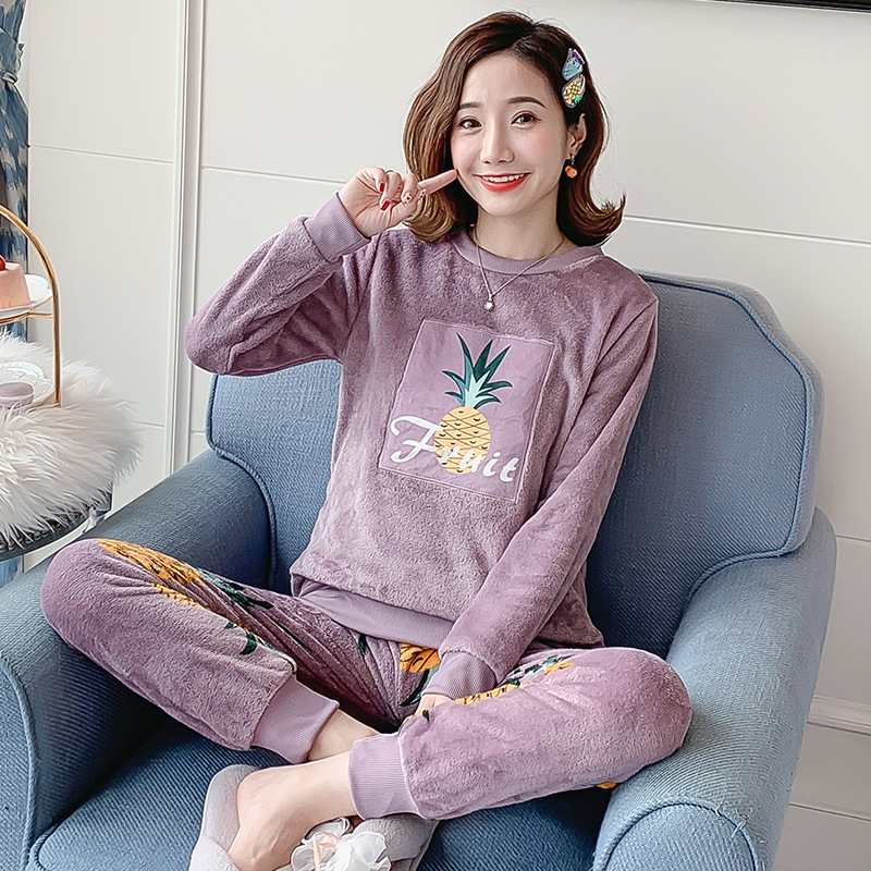 Autumn Winter Flannel Cartoon Cute Pajamas Long Sleeve Pyjamas Women Pijama Mujer Loungewear Home Clothes Sleep Set Nightwear 36