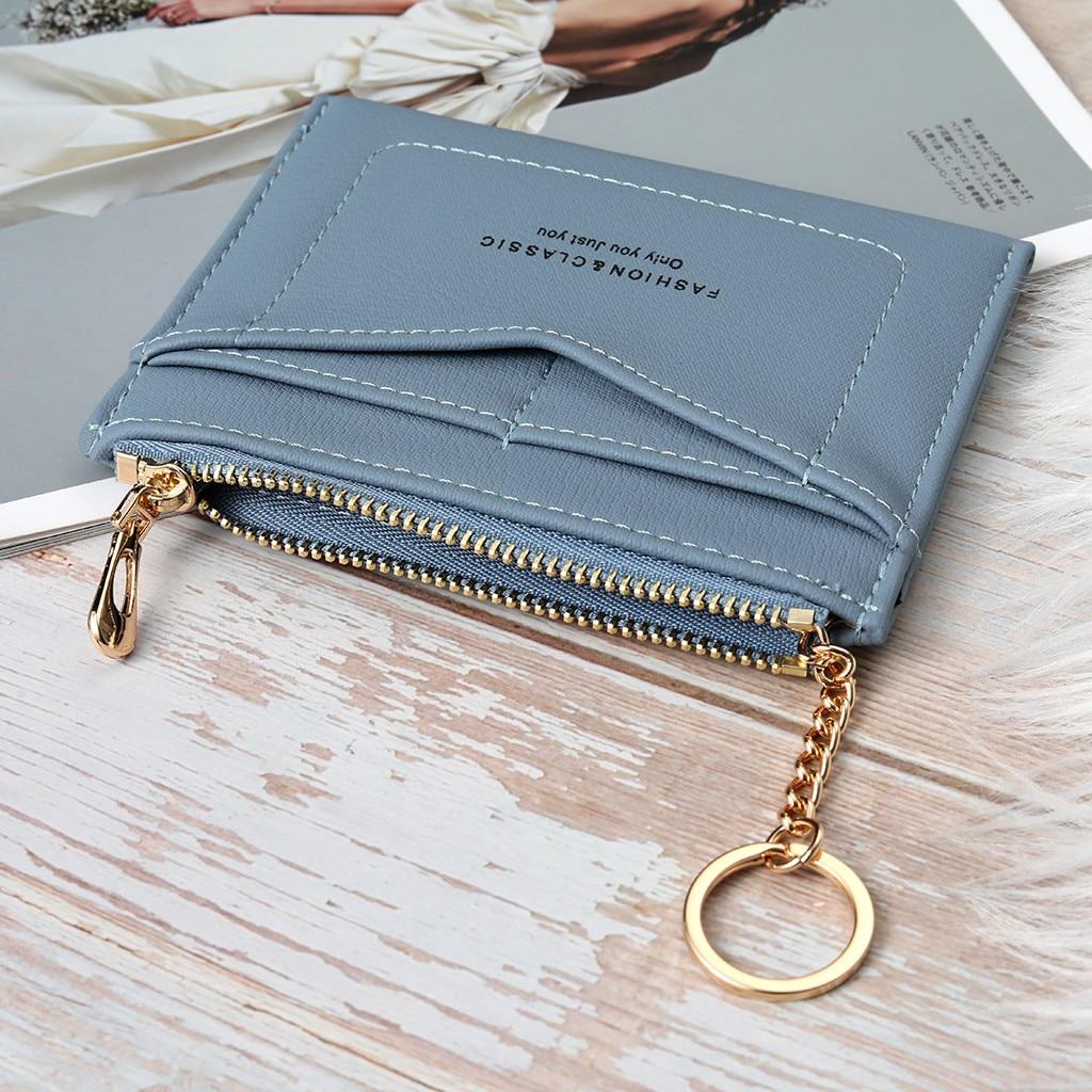 Женский кожаный мини-держатель для карт, симпатичный держатель для кредитных карт, кошелек на молнии, чехол, кошелек для мелочи, брелок из ну...