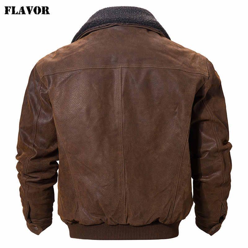 風味男性の本物の革のジャケット本物の革のジャケットフェイクファーの襟男性オートバイ暖かいコート本革ジャケット
