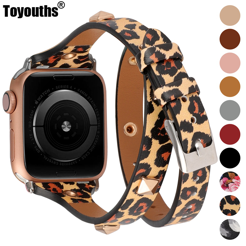 Toyouths 2020 Leather Double Wrap Rivet Band for Apple Watch Women 44mm 42mm Watch Strap for iWatch Series <font><b>5</b></font> <font><b>4</b></font> <font><b>3</b></font> 2 <font><b>1</b></font> 40mm 38mm image
