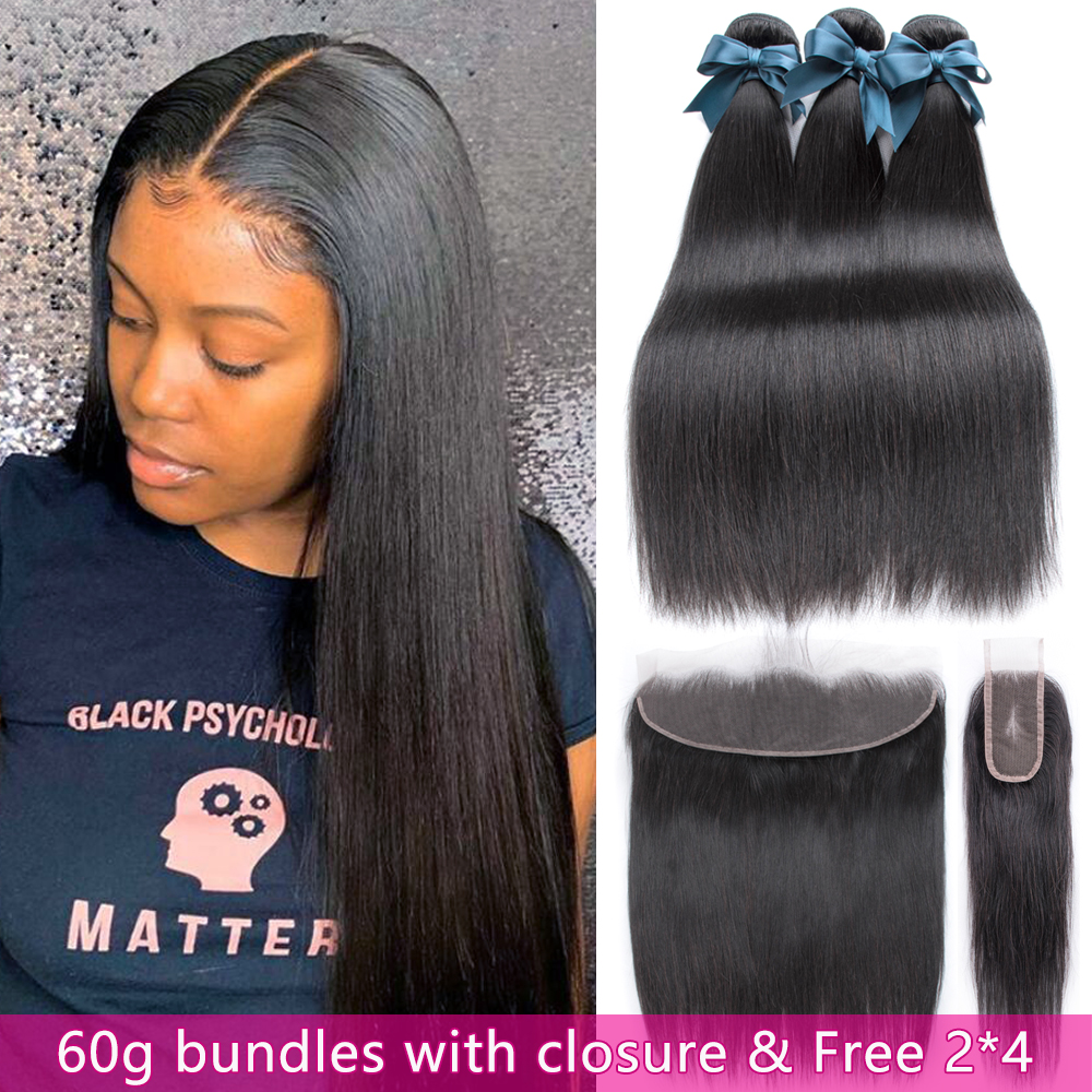 60g Straight Hair 3 Bundles With Frontal Human Hair Bundles With Free 2*4 Closure Brazilian Hair Weave Bundles With Closure