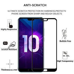 Image 2 - 2PCS 100% Original Full Cover Tempered Glass for Huawei Honor 10 Screen Protector on Protective Glass For COL AL10 L09 L29 Film