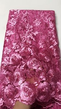 Nigerian Lace Fabric 2019 High Quality Lace Beaded Lace Fabric Wedding Pink African With Beads Nigerian French Lace Fabric FJU23