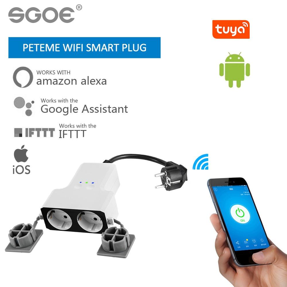 Peteme Tuya Waterproof Smart Plug Wifi Smart Socket Outdoor Socket Time Setting Remote Outlet Compatible With Alexa Google Home