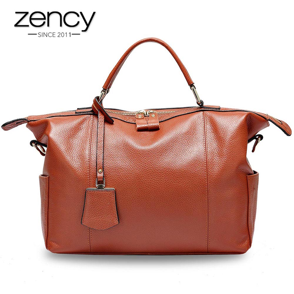 Zency Women Casual Tote 100% Genuine Leather Large Capacity Black Handbag Simple Lady Crossbody Messenger Purse Shopping Bags