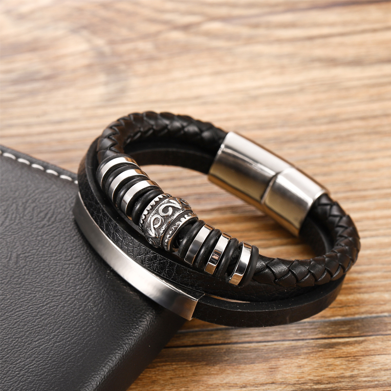 Bracelet en cuir Chakra en acier inoxydable, Bracelet personnalisé avec breloques pour hommes, accessoires noirs et bruns, offre spéciale 3