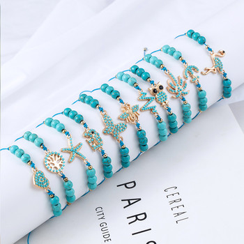 Bohemian Blue Acrylic Beads Ankle Bracelet for Women Leg Chain Coconut Tree Flamingo Anchor Electrocardiogram Owl Animal Anklet 3
