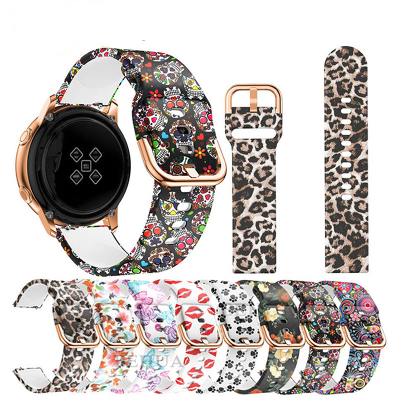 20mm Silicone Strap For Samsung Galaxy Watch Active 2 Print Bracelet For Samsung Galaxy Watch 42mm Adjustable Replacement Strap