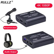 4K TV Loop 1080p HDMI graficzna karta przechwytująca USB 2 0 3 0 pole nagrywania gra przekaz na żywo Mic In Audio Out telefon wideorejestrator tanie tanio RULLZ CN (pochodzenie) RULLZ Mini HD Capture Card Recording Device Optional