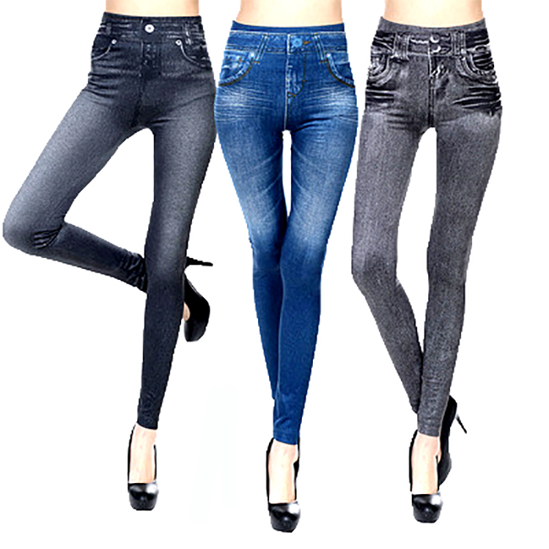 Obedience Hot sale Imitation Cowboy Jeans   Leggings   For Women Pants With Pocket Cashmere Slim   Leggings   Women Fitness XXL