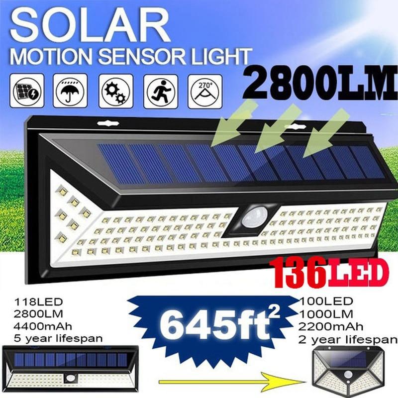 Lámpara alimentada por energía Solar para decoración de jardín, iluminación exterior con Sensor de movimiento, impermeable, para pared de calle, 308/128/268 Luces Solares LED