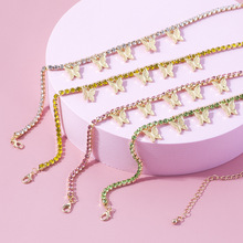 5 Colors Butterfly Necklaces For Women Choker Rhinestone Tennis Chain Pendant Necklace Female Jewelry Collar trendy female 12 constellation pendant necklace charm gold chain zodiac sign choker necklaces for women men collar jewelry gift