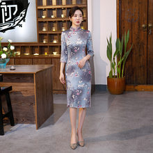 Chinese Style Retro Traditional Cheongsam Printed Qipao Party Silk Long Dress Women Sexy Knee-length Vintage Qipao(China)