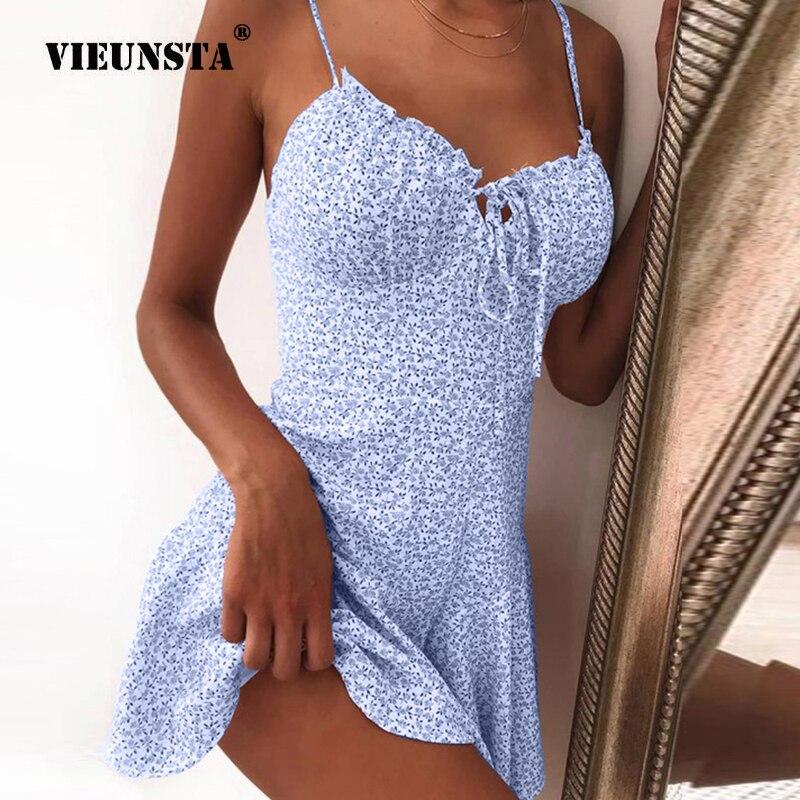 Summer Tie Front V Neck Elegant Sexy Floral Print Mini Dress Women Off Shoulder Ruffle Party Dress Femme Backless A-Line Dresses