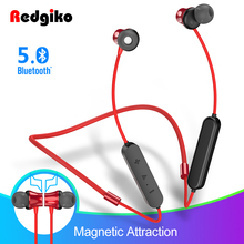 Redgiko Wireless Earphones Bluetooth Magnetic Headphones Noise Cancelling Headset Earbuds Handsfree  With Mic For Phone Xiaomi
