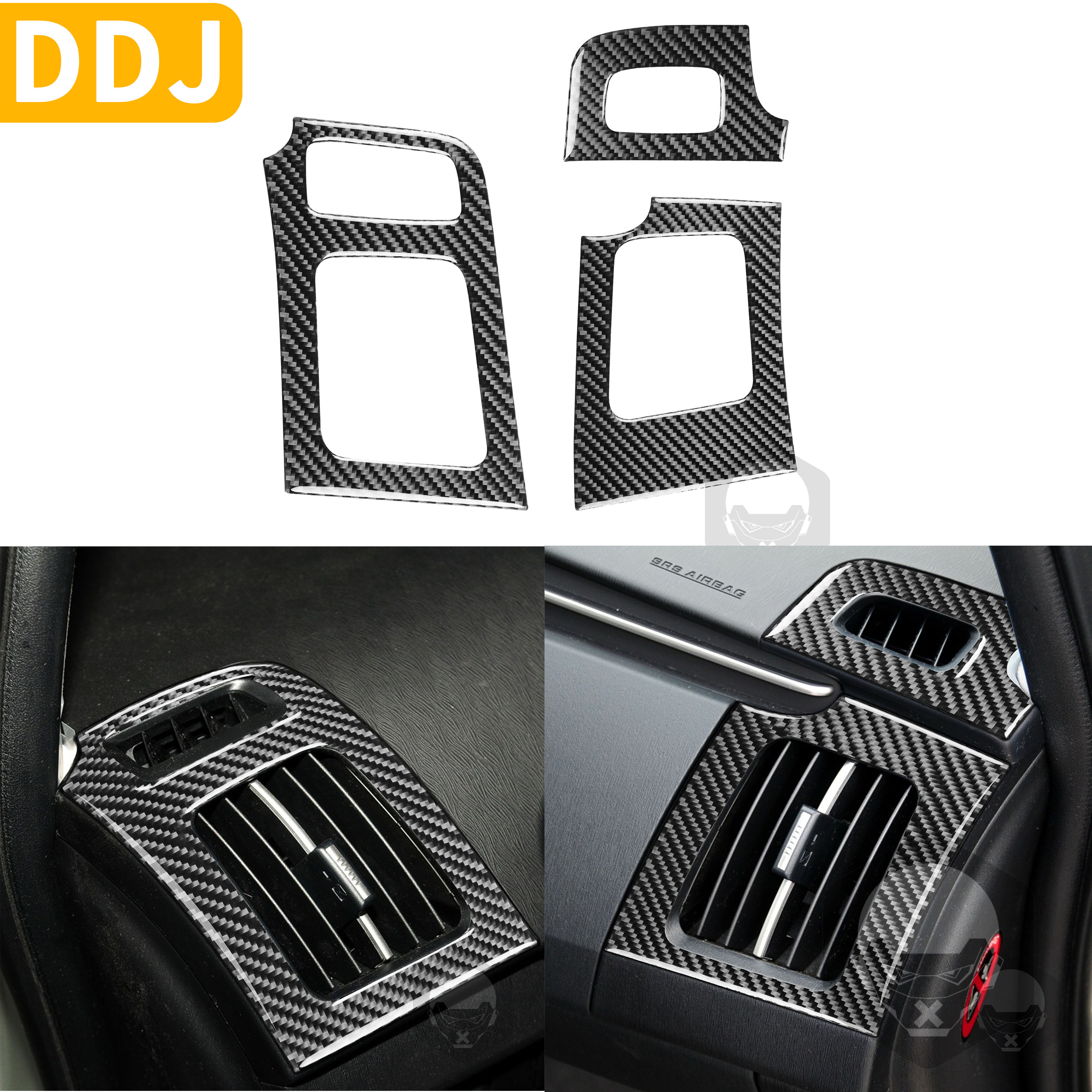 For Toyota Prius XW30 ZVW30 ZVW35 2009-2015 Carbon Fiber Stickers Side Dashboard Air Vent Frame Cover Sticker Car Accessories