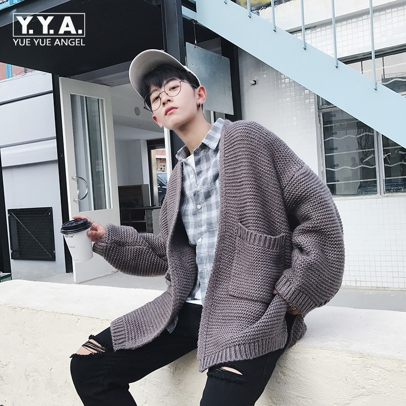 Fashion Oversized Mens Knitted Sweater Preppy Boy Outwear Coat Loose Fit Personality Casual Male Cardigan Jaqueta Masculino