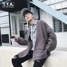 Fashion Oversized Mens Knitted Sweater Preppy Boy Outwear Coat Loose Fit Personality Casual Male Cardigan Jaqueta Masculino(China)