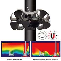 Abrazadera/imán Mouted Dual Head 6 Blade ventilador de estufa de energía térmica komin troncos quemador de madera Slient ventilador hogar eficiente distribución de calor