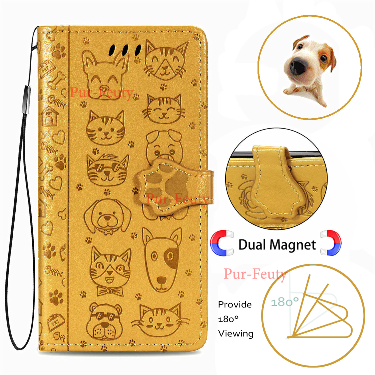 For Sony Xperia 1 II 10 Ii Bumper Flip Leather Case For Sony Xperia 1 II 10Ii Wallet Cases Cat & Dog Embossed Pouch Bags Cover