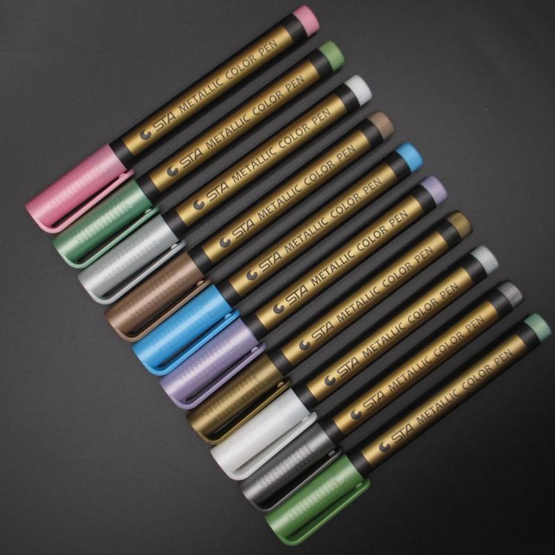 1 Pcs Creative Needle Drawing Metal Color Craft Pen Golden And Silver Paint Pen Crayon Black Card Paint Mark Message
