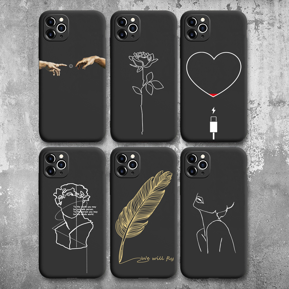 Soft Silicone Phone Case Coque For iPhone 11 Pro Max 6 SE 2020 7 8Plus X XS XR Cover Funny Design Smile Mona Lisa Soft TPU Shell