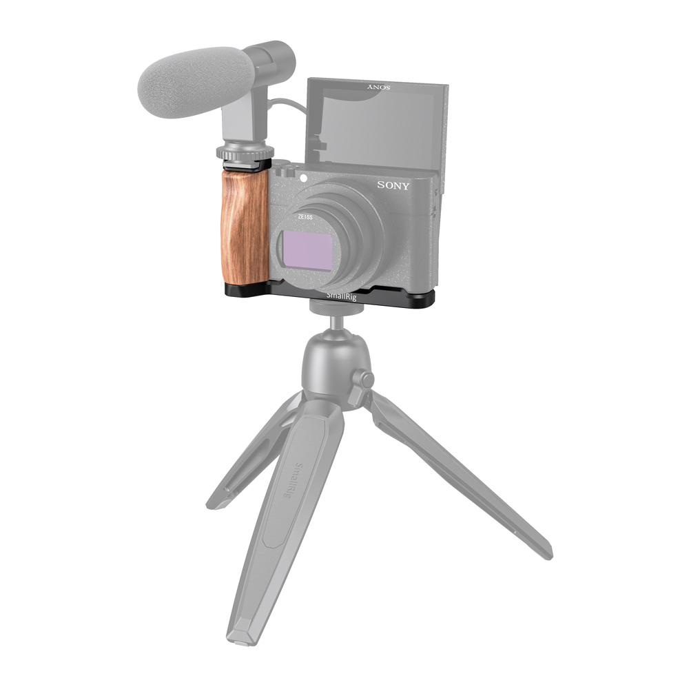aluminum alloy SmallRig RX100 L Bracket Plate for Sony RX100 III/IV/V(VA)/V Aluminum Alloy Plate With L-Shaped Wooden Grip with Cold Shoe-2438 (5)