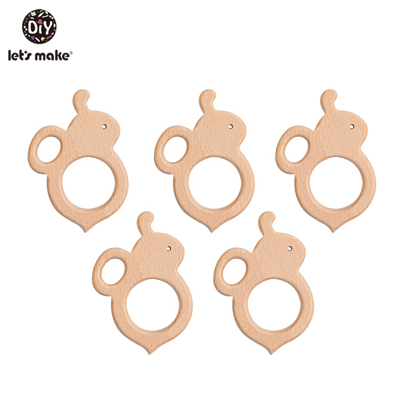 Let's Make 10pc Wooden Teether Baby Toys Bee Cartoon Wood Crafts Baby Teether Charms For Crib Mobile Toy Gifts