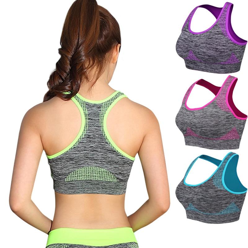 Darbeye hızlı kuru spor kadın sutyeni yastıklı toplamak Yoga sutyen Push Up spor koşu sutyeni dikişsiz egzersiz spor sutyeni en