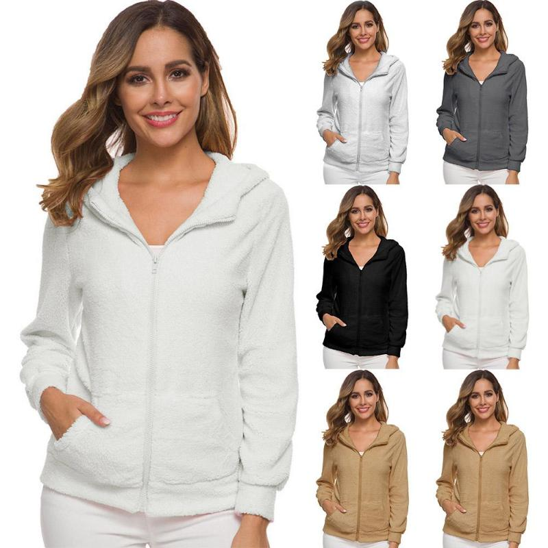 Plus Size Sweatshirts Solid Hooded Zipper Cardigan Winter Coat Long Sleeve Vacations Warm Soft Tops Daily Costume