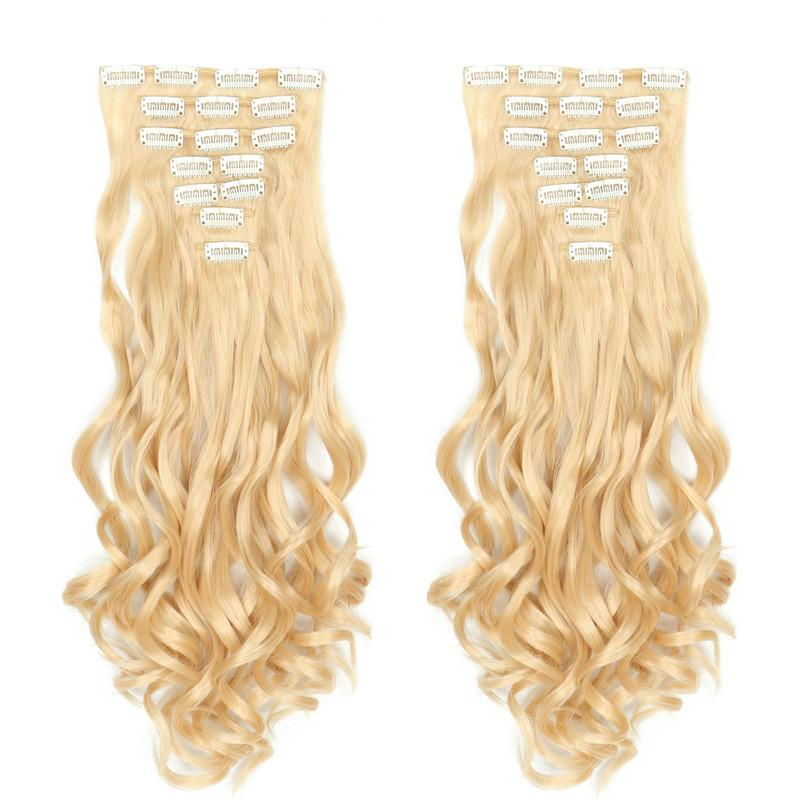 Hair-Extension-Set Blond Heat-Resistant Clip-In Deep-Wave Brown Synthetic Women Light