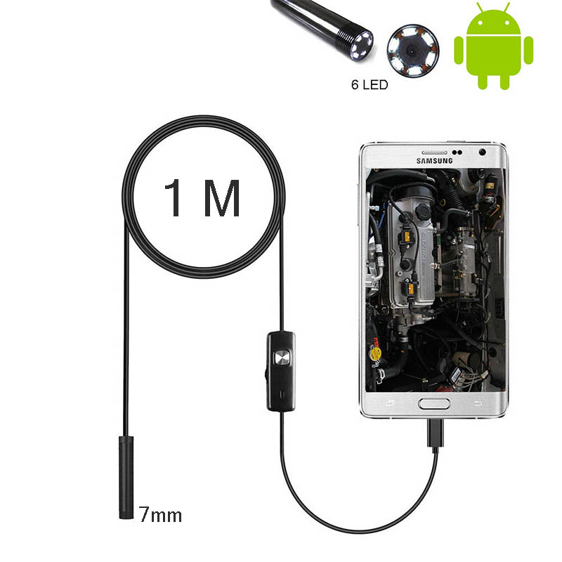 1 M Micro USB Endoscope Camera 7mm Flexible Cable PC Android Phone Endoscope Pipe Adjustable Endoscope Inspection Mini Camera
