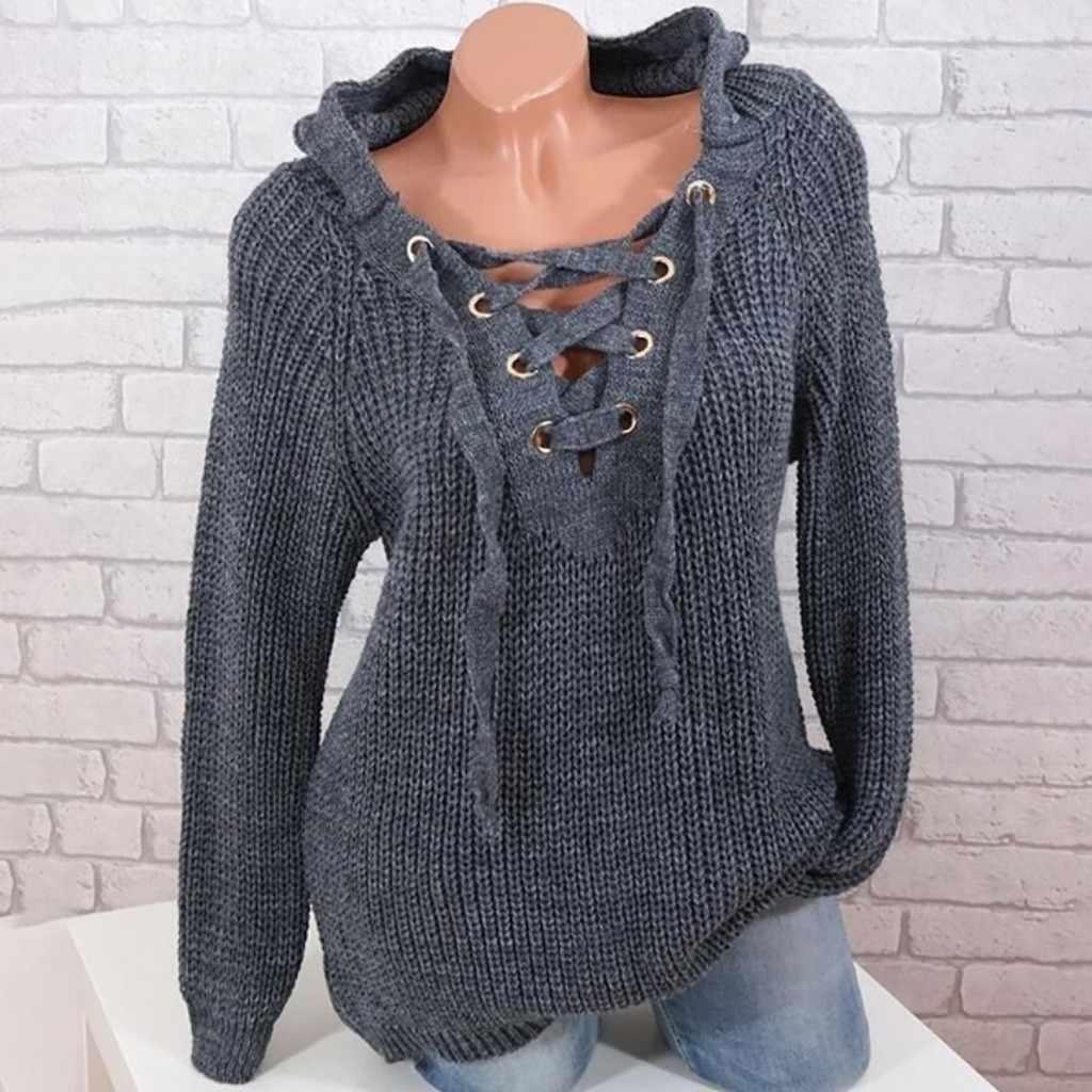 Женский вязаный свитер со шнурками полосатая повязка с v-образным вырезом, пуловер с перекрестными завязками, Свободный Повседневный длинный трикотажный джемпер, топ, женский свитер 911