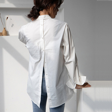2020 Spring Summer Casual Loose Women Blouses Tops Back Split Turn-down Collar White Shirts Personalities Female Streetwear