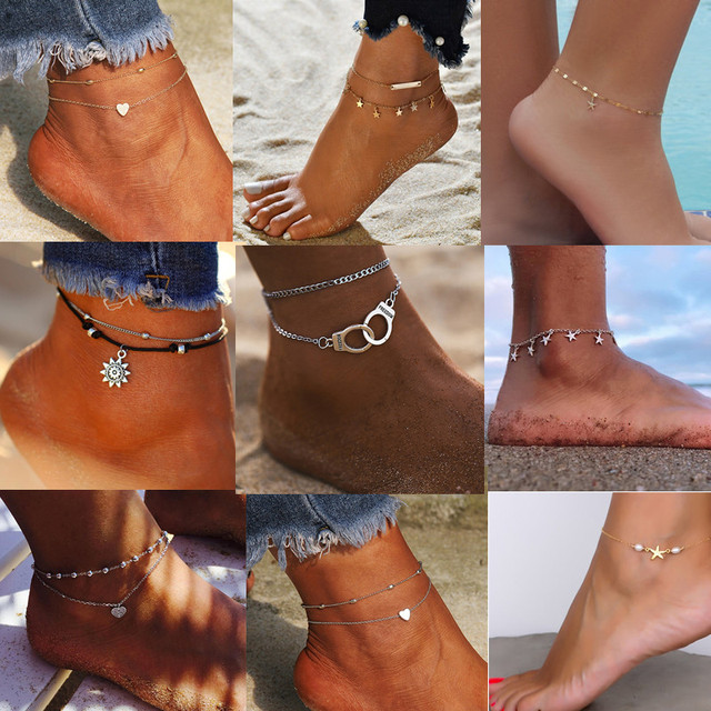 Boho Style Star Anklet Fashion Multilayer Foot Chain 2021 Fashion Handcuffs Ankle Bracelet For Women Beach Accessories Gift 2