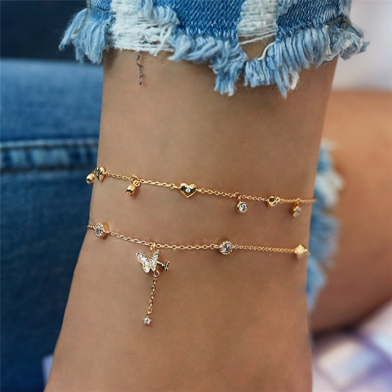 Gold Ankle Bracelets For Women 2020 New Fashion Crystal Butterfly Heart Multi-layer Anklet Female Simple Leg Chain Foot Jewelry