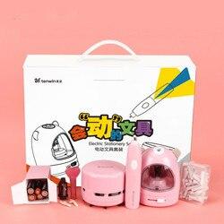 Set de 3 uds de papelería eléctrica sacapuntas automático Borrador de dibujos animados aspiradora adorable Kit de aprendizaje para niños caja regalos para niños y niñas