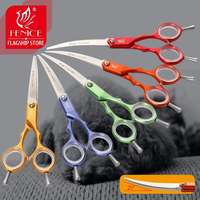 Fenice vg10 aço inoxidável 6 Polegada pet cães gromming tesoura curvada tesouras afiadas animais gato corte de cabelo barbeiro ferramentas de corte