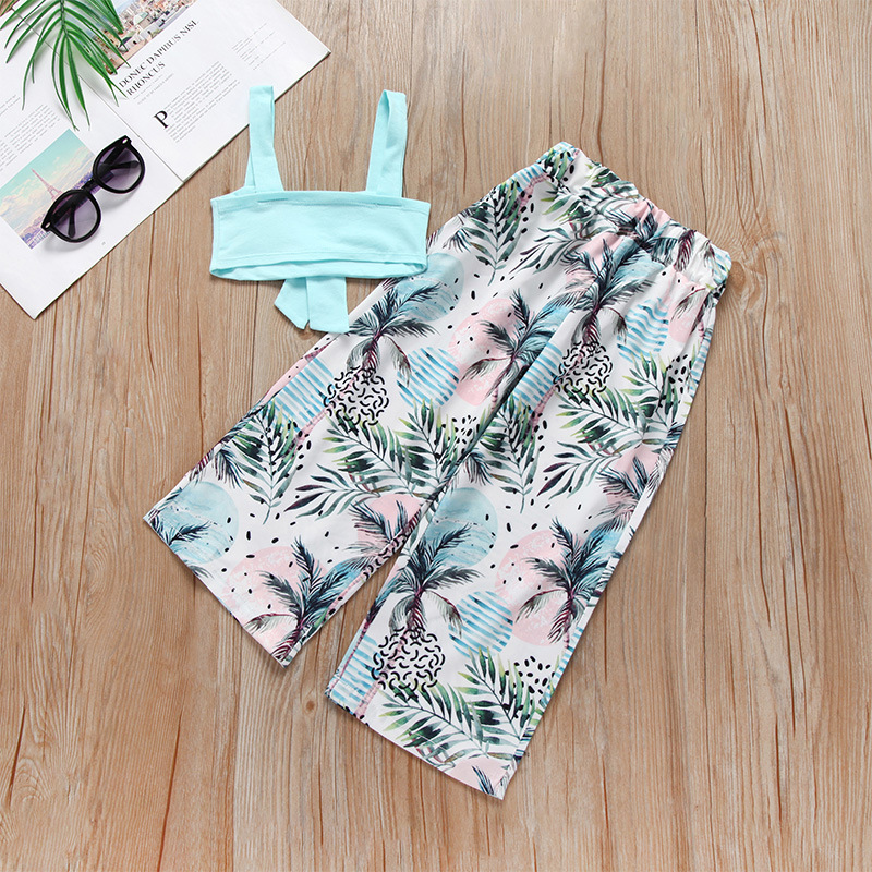 Summer Medium-small Girls Seaside Swimsuit Hipster Wide Leg Pants Vest Swimsuit Hot Selling