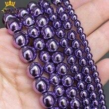 Lila Überzogen Hämatit Runde Perlen Natürliche Lose Stein Perlen Für Schmuck DIY Machen Armband Zubehör 15''Inches 3 4 6 8 10mm