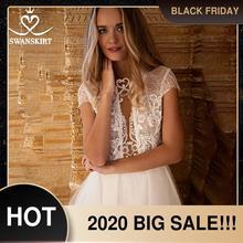 פיות אפליקציות תחרה חתונה שמלת Swanskirt HZ45 מבריק חרוזים אשליה אונליין כפתור כלה שמלת מותאם אישית Vestido דה novia