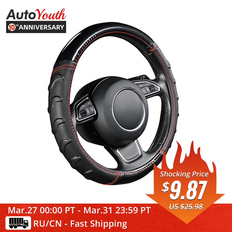 AUTOYOUTH Steering-Wheel-Cover Car Soccer-Pattern Universal Splice-Light Fits Willow title=